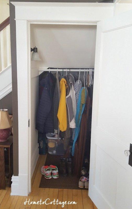 HometoCottage.com closet with coats back