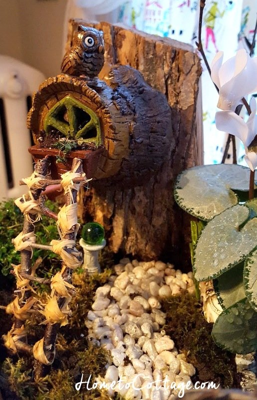 HometoCottage.com miniature fairy garden ladder for owl's visitors