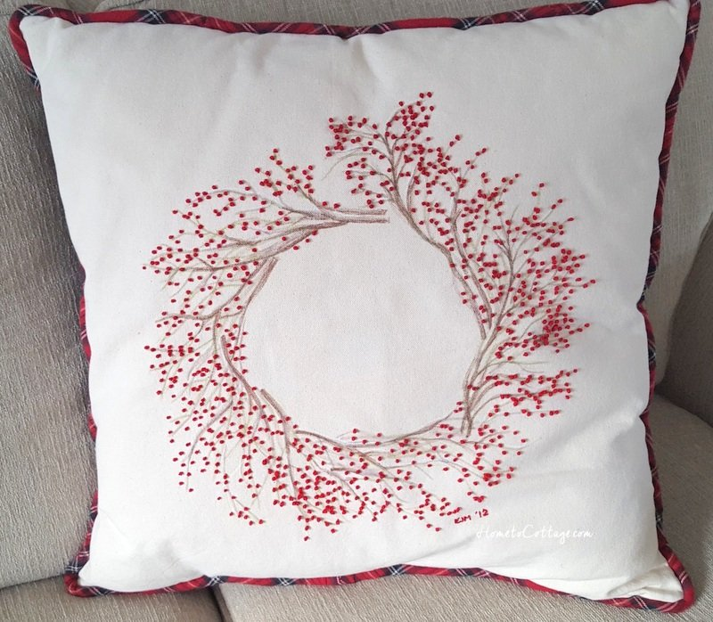 HometoCottage.com French Knot Red Berry Wreath Pillow