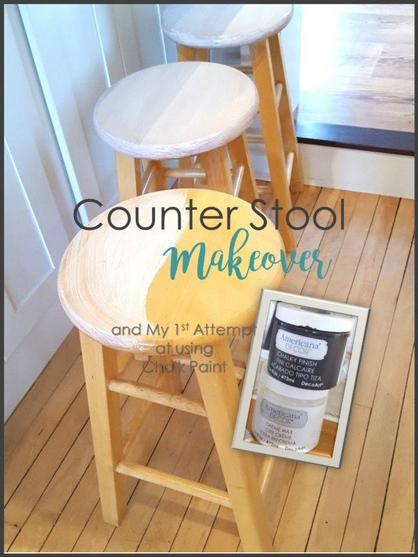 SimpleDecoratingTips.com counter stool makeover and my 1st attempt at chalk paint
