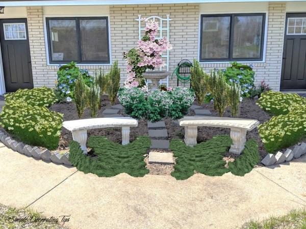 Before and after circular garden SimpleDecoratingTips.com