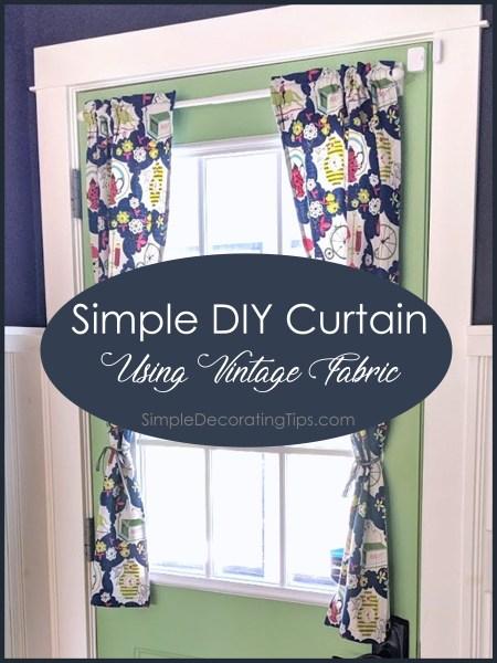 Simple DIY Curtain with vintage fabric SimpleDecoratingTips.com