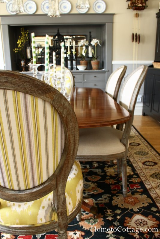 HometoCottage.com striped and ikat print chairs with linen