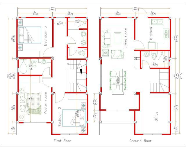 3d House Design 6x10 Meters 20x33 Feet 2 Beds House layout floor plan
