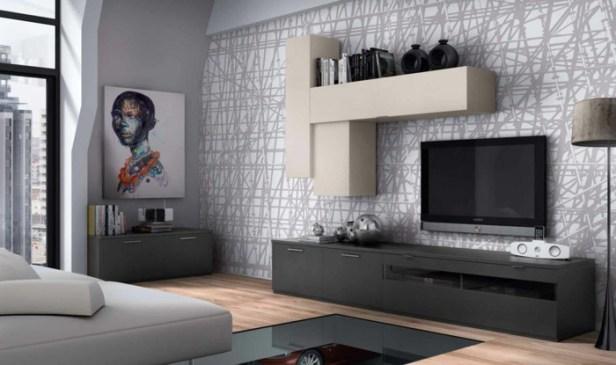 small-living-room-set-up-wall-shelves-pattern-wallpaper-grey-white