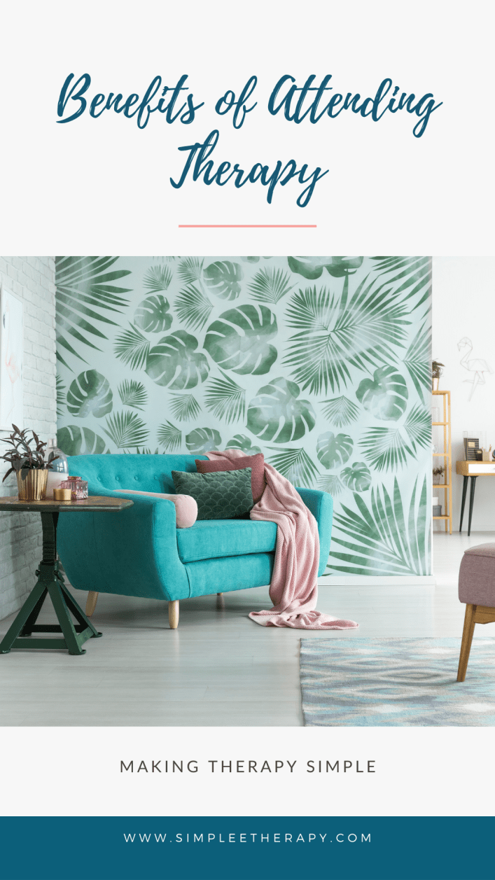 benefits of therapy, teal blue couch, pink flamingo accessories