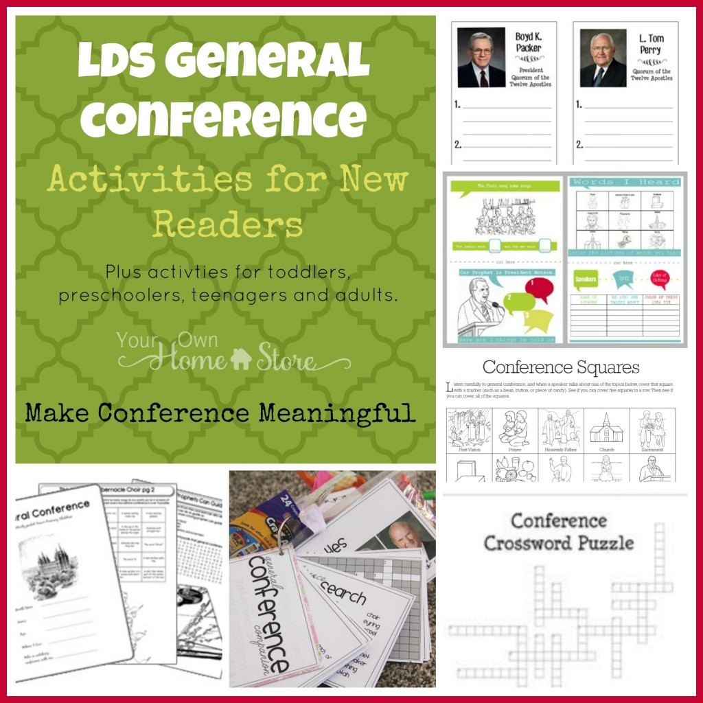 General Conference Activity ideas for new readers, plus the Ultimate list of Ideas for making General Conference Meaningful for all ages: http://simplefamilypreparedness.com/?p=9461
