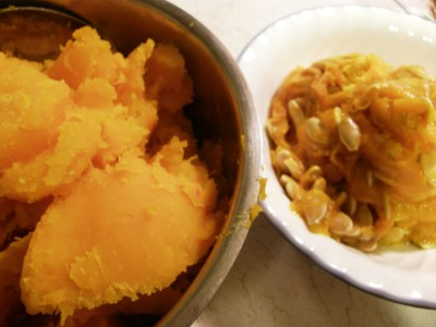 Seeds and Squash in Separate Bowls