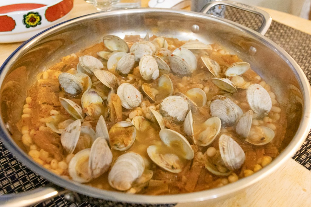 Clams, Kimchi, and Alubia Blanca Beans