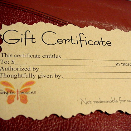 Jewelry Gift Certificates Gift Cards Handmade Tampa