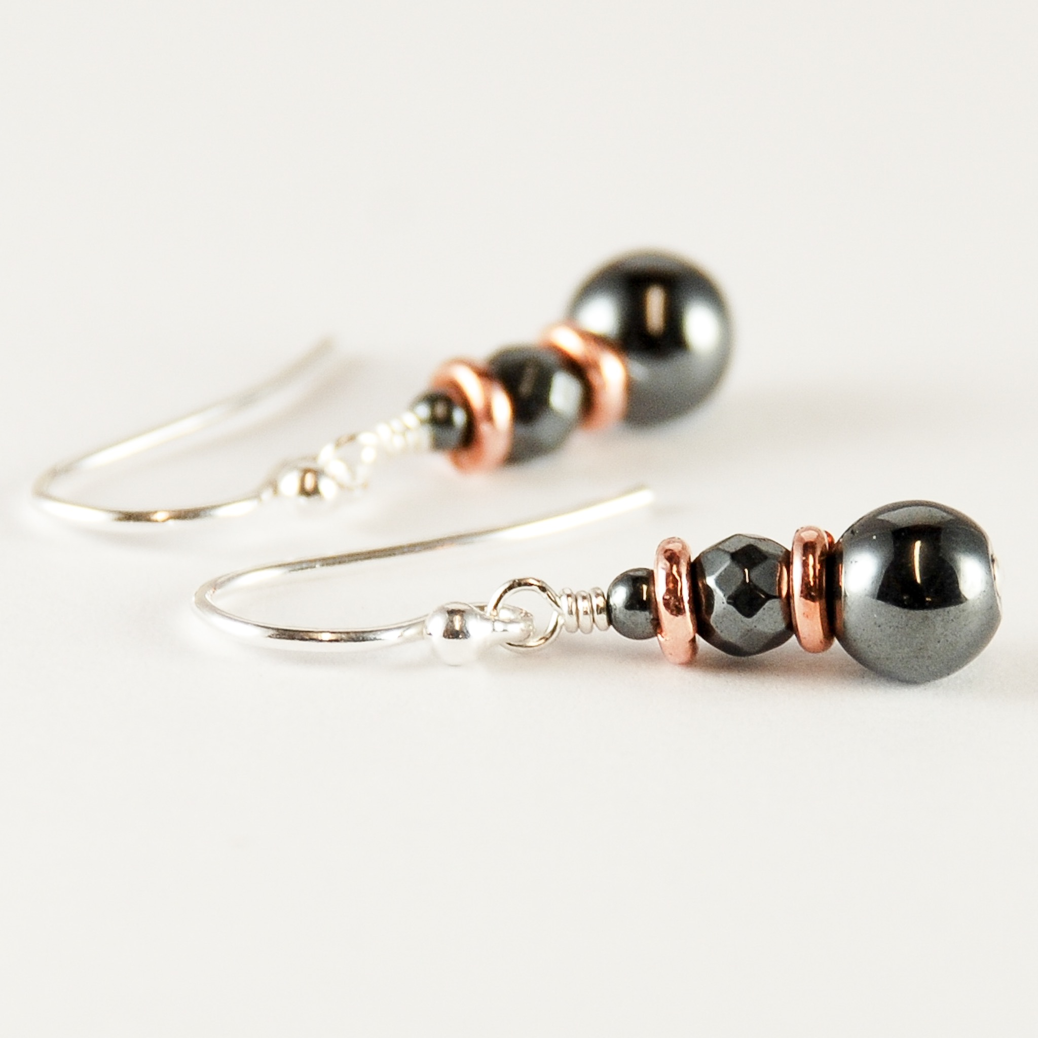 Copper jewelry hematite copper earrings 7th 11th anniversary gift ideas for her