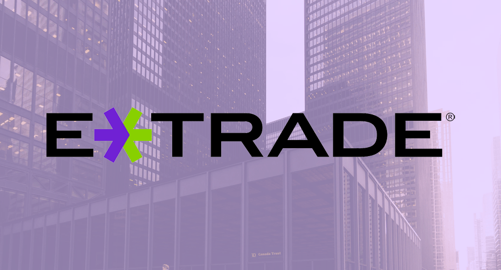 The E-Trade logo overlaid over a picture of a bank