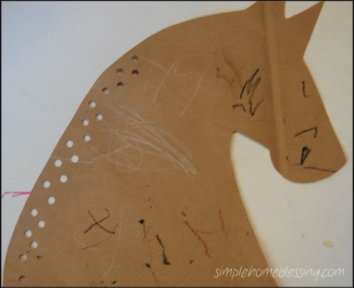 horse lacing card