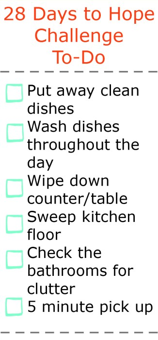 28 Days to Hope Goal to-do  list