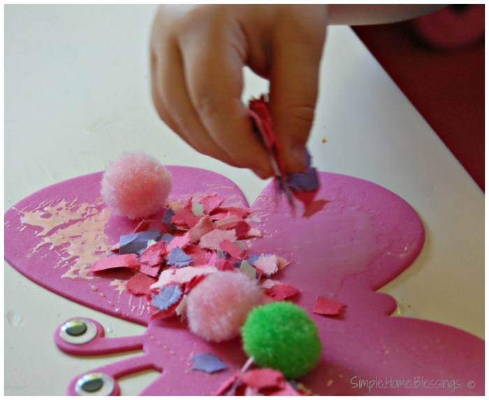 Butterfly Craft for Toddlers - pom poms and confetti