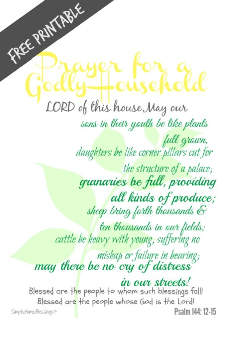 Free Printable Prayer for a Godly Household - house blessing and devotion