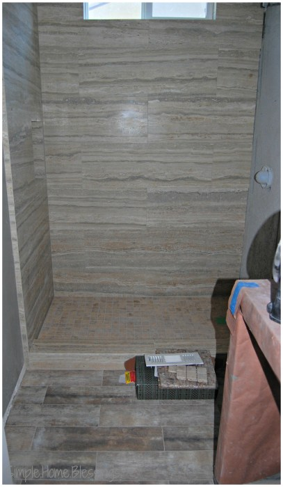 seven year itch Powder Bathroom Remodel - shower and floor done