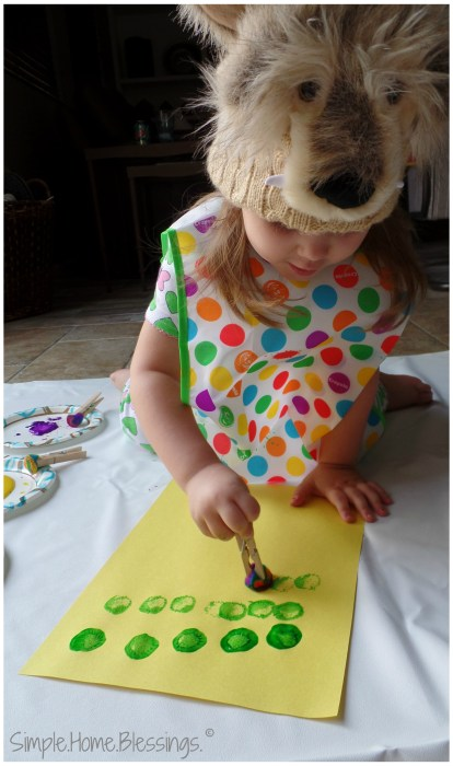exploring art with toddlers, painting a tree