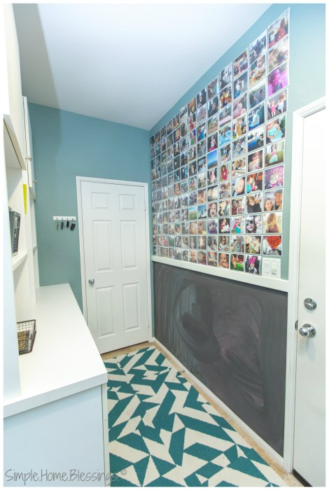 Family Instagram Display Wall in laundry room