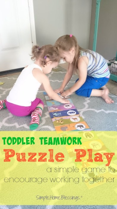 Toddler activity to encourage playing well with one another, puzzle play