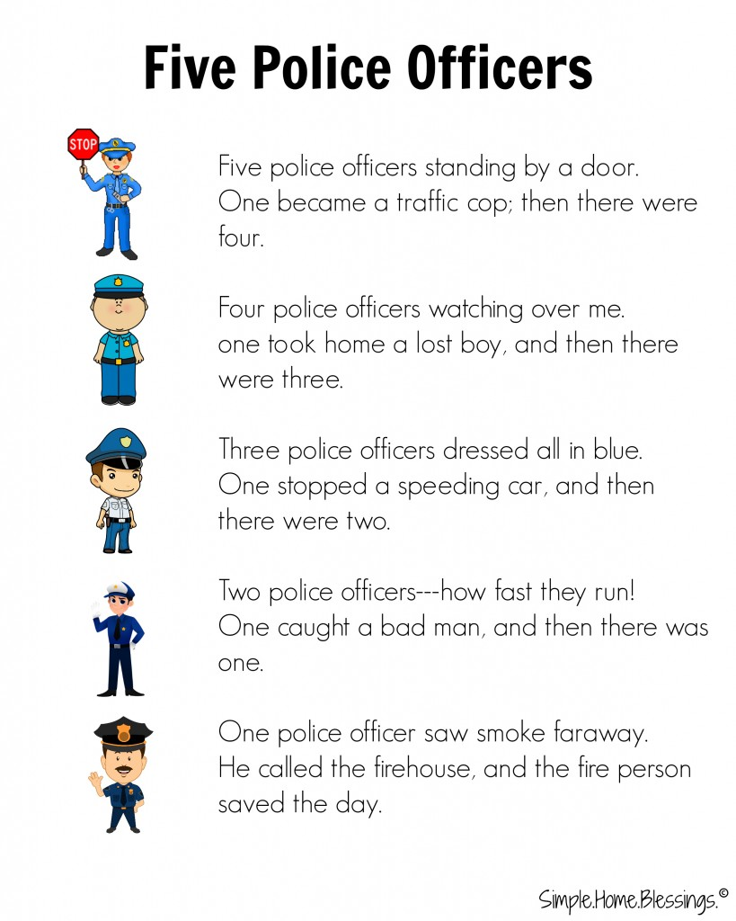 cute rhyme for preschool Police Man unit