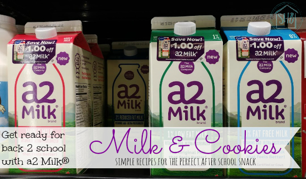 make the perfect back to school snack, cookies and milk with a2 Milk® and these super simple recipes for kids to make
