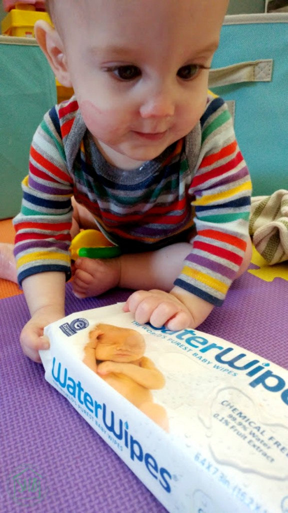 first foods and first messes - cleaned up with super soft WaterWipes.