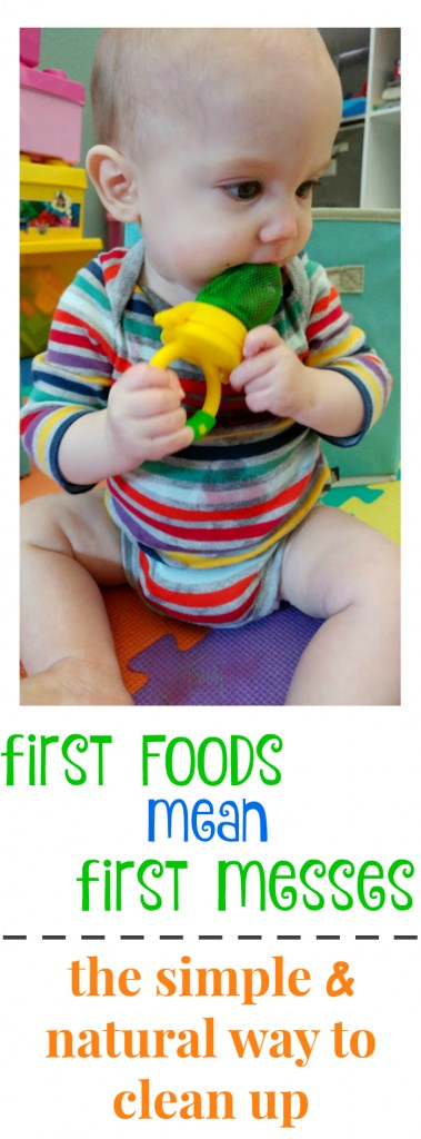 first foods lead to first messes - here's a super simple and natural way to clean up baby