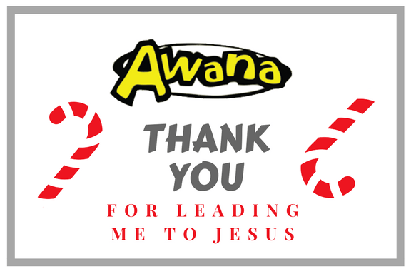 Awana Leader Thank You gift tag/bag topper