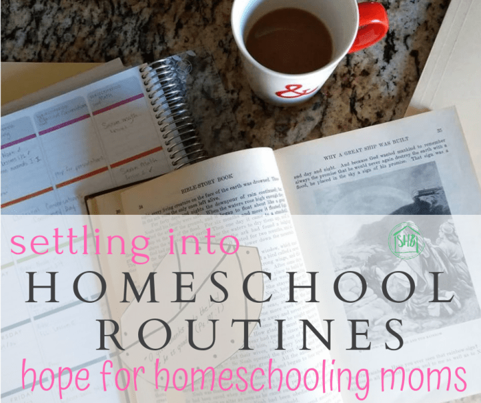 hope for homeschooling moms - settling into routines for homeschool