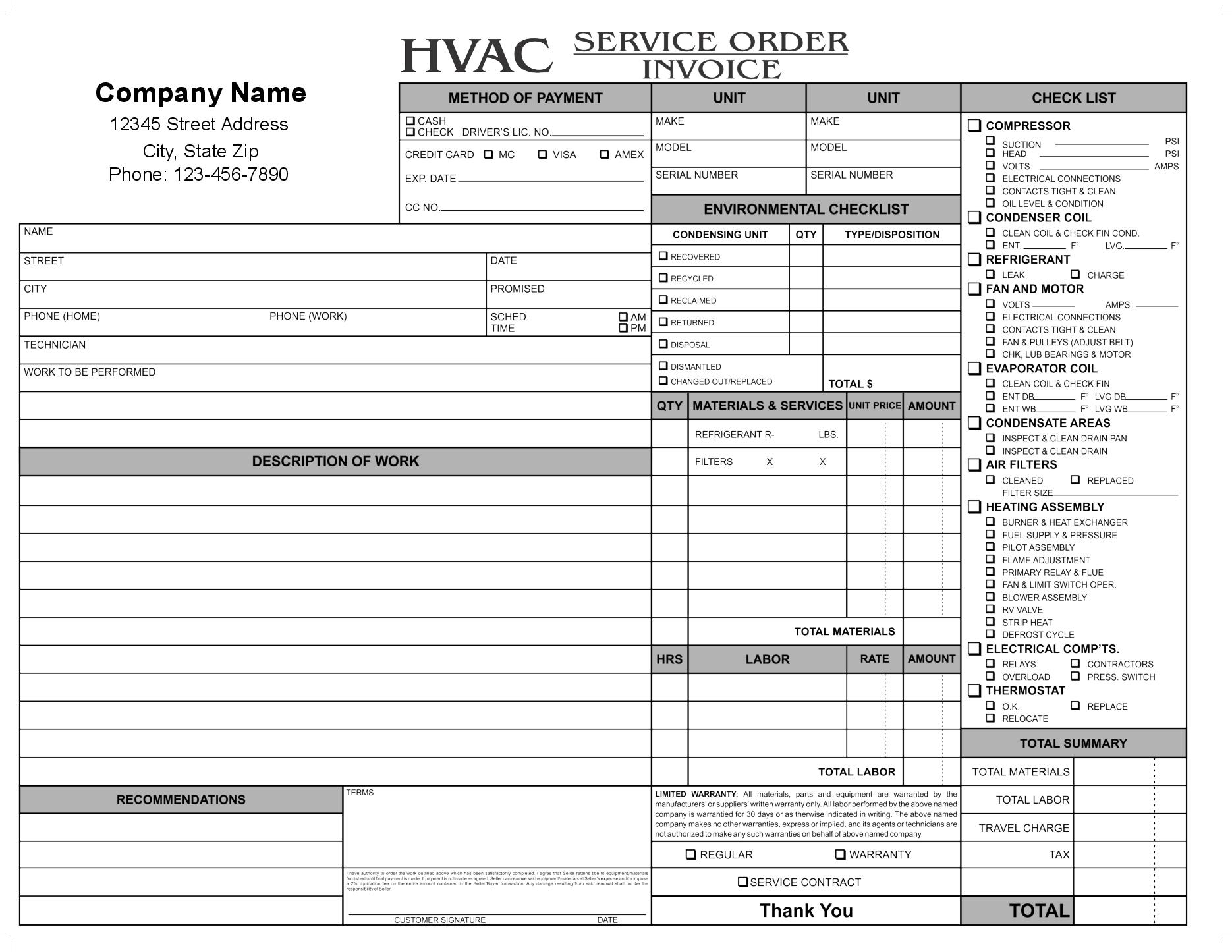 Hvac Service Order Invoice Invoice Template Ideas