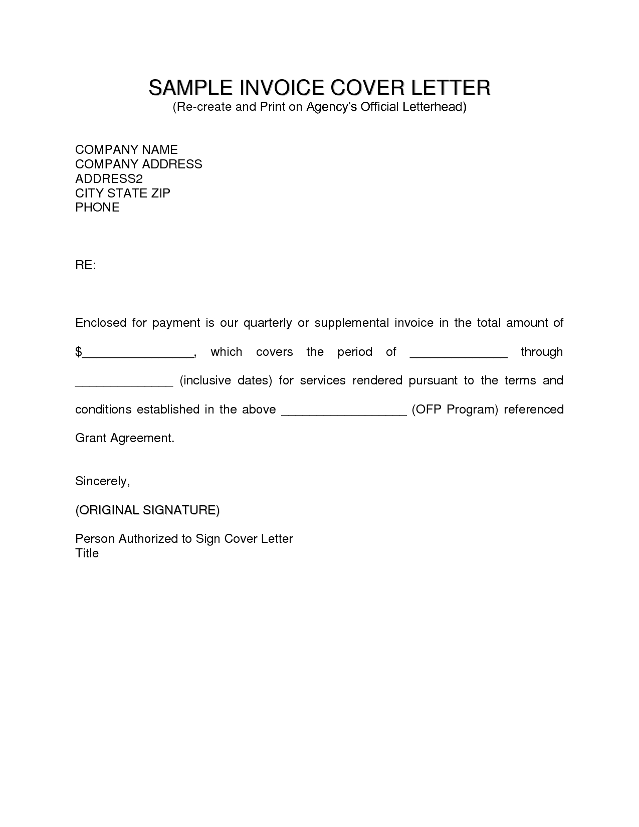 Invoice Letter Example Invoice Template Ideas