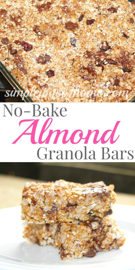 These easy no-bake almond granola bars are perfect for an after-school snack, to put in the kids' lunches or to take while traveling!