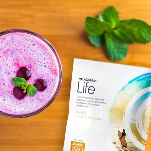 Delicious Cherry Almond Vanilla Shake using Shaklee's Life Shake Mix