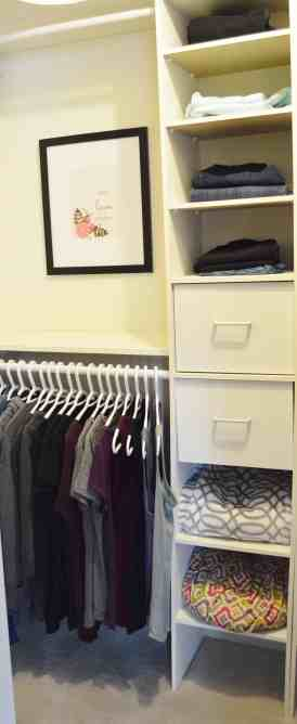 Minimalist closet makeover - shelves and drawers