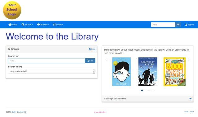 Example OPAC homepage