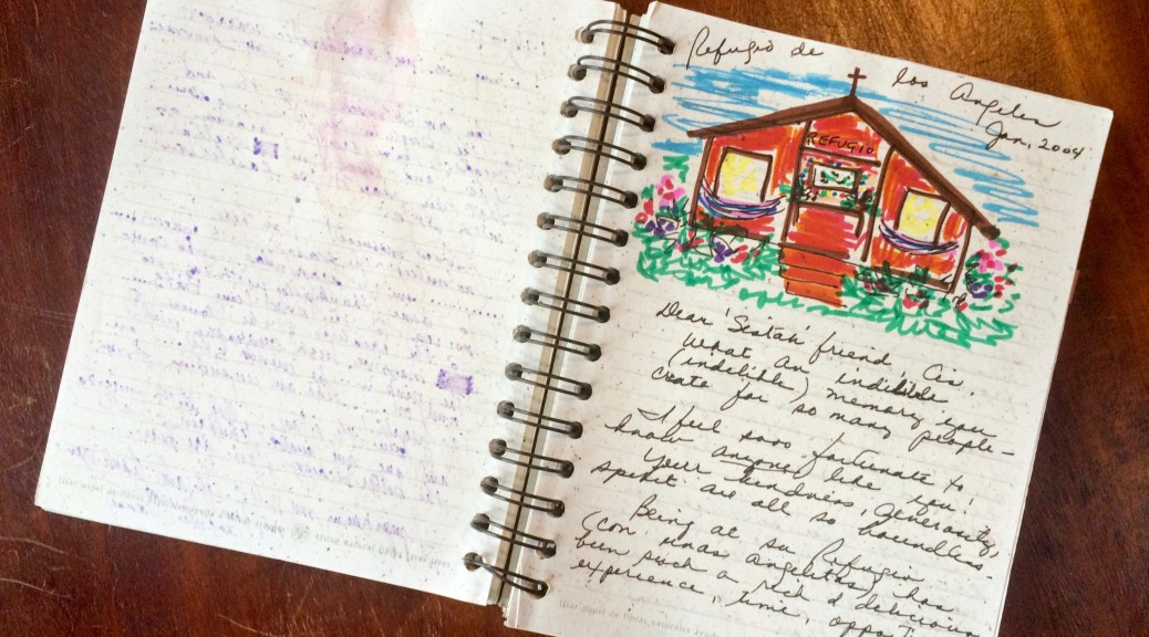 Photograph of an entry and a drawing in the Guestbook at Refugio de Los Angeles