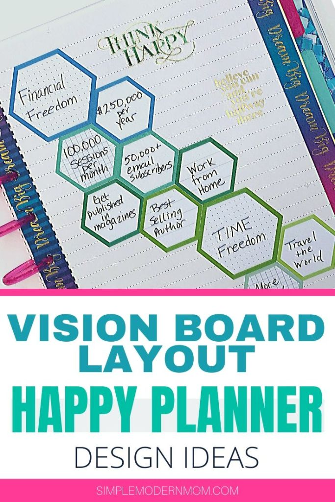 happy planner vision board layout; classic happy planner with hexagon stickers, dream big, think happy, only positive vibes