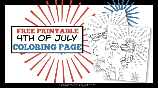 This Fourth of July, while you're watching fireworks and eating hot dogs, have fun with this FREE printable July 4th coloring sheet! #JulyFourth #4thofJuly #IndependenceDay #FourthofJuly #PatrioticColoring