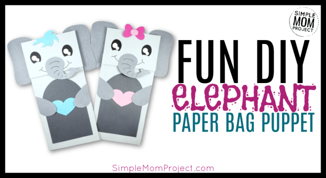 Click and print this FREE template to make a simple paper bag elephant craft puppet. It is such a fun and creative way to teach the alphabet! E is for Elephant! #elephantcrafts #paperbagpuppets #diypuppets #puppets #paperbagcrafts