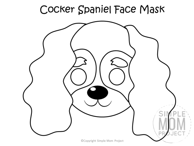 Free Printable Cocker Spaniel Dog Face Mask Coloring Page