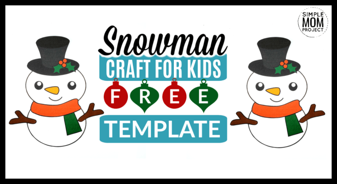 Click now and use this free printable paper snowman template cut out for your next winter craft! This snowman is cute and easy for kids of all ages; including kindergartners, preschool age and toddlers! Use him as a coloring page activity or make a diy Christmas ornament - choice is all yours! #SnowmanCrafts #SnowmanTemplate #WinterCrafts #SimpleMomProject