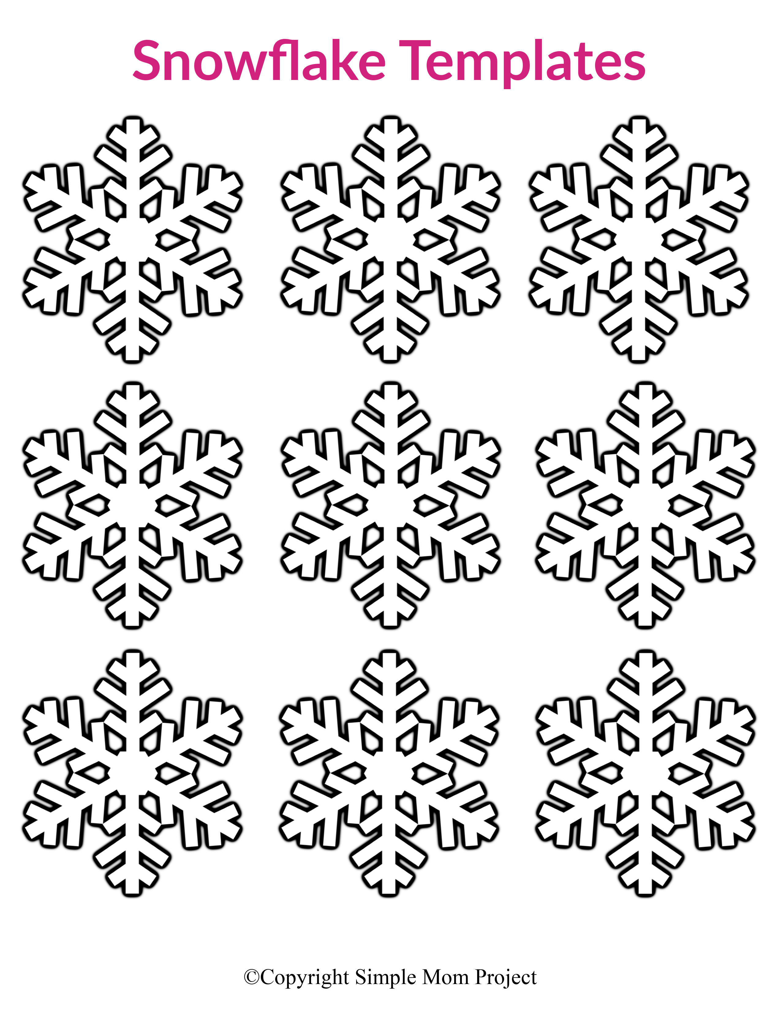 Free Printable Small Snowflake Templates Simple Mom Project