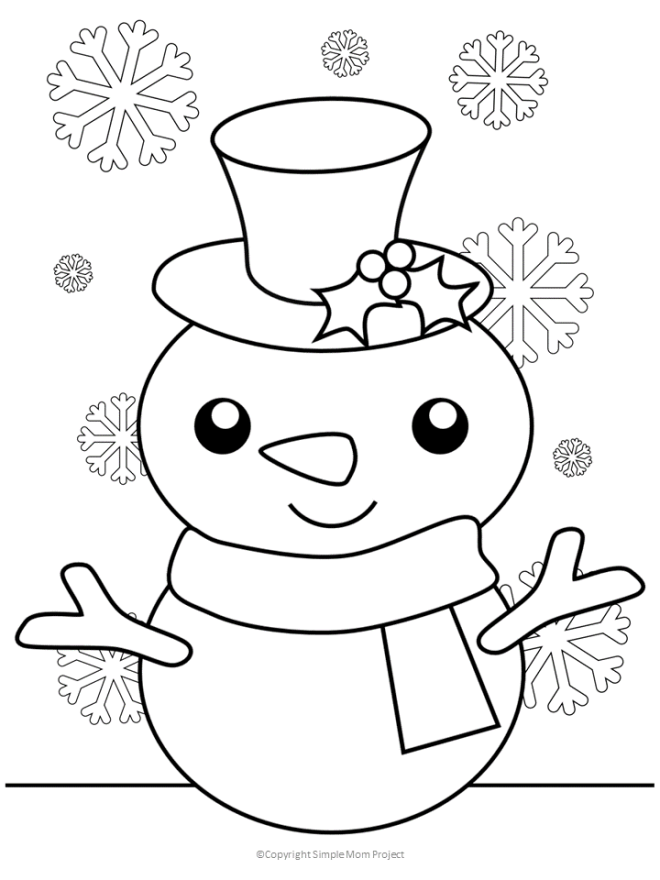 Snowman Winter Coloring Page with No Words