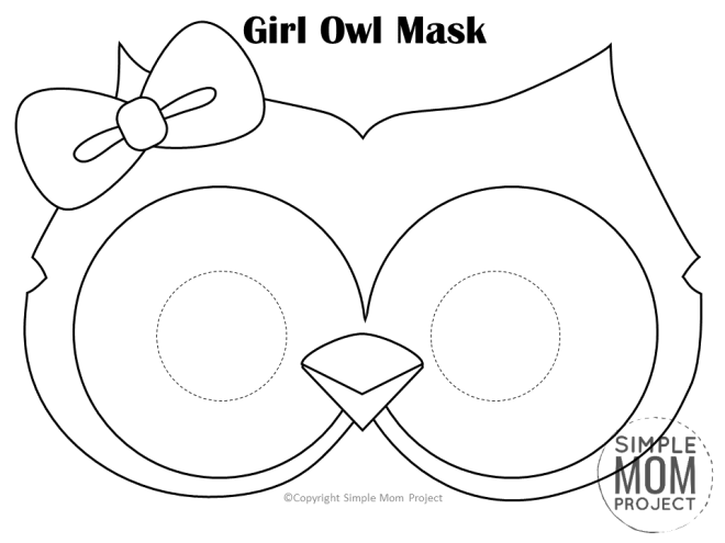 Free Printable Gril Owl Mask Template Coloring Page for Kids