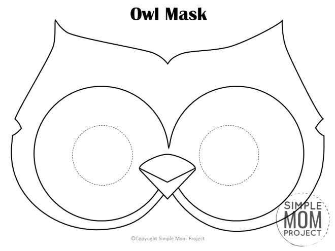 Free Printable Owl Mask Template Coloring Page for Kids