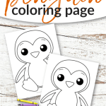 Click and print this simple and free printable winter penguin coloring sheets for preschool kids, toddlers, kindergarten kids, teens and adults! This cute penguin coloring page is perfect for everyone #wintercoloring #winter #penguin #articanimals #penguincoloring #SimpleMomProject