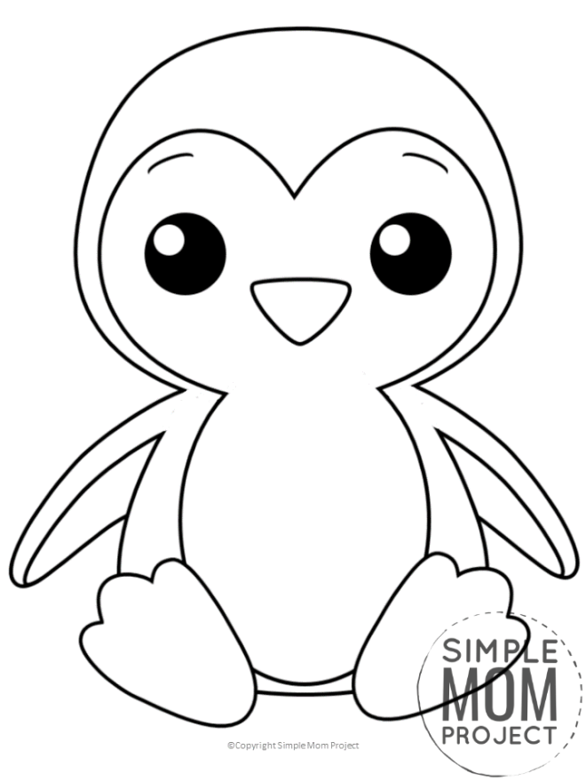 Free Printable Penguin Coloring Sheet for Kids, preschooler and toddlers