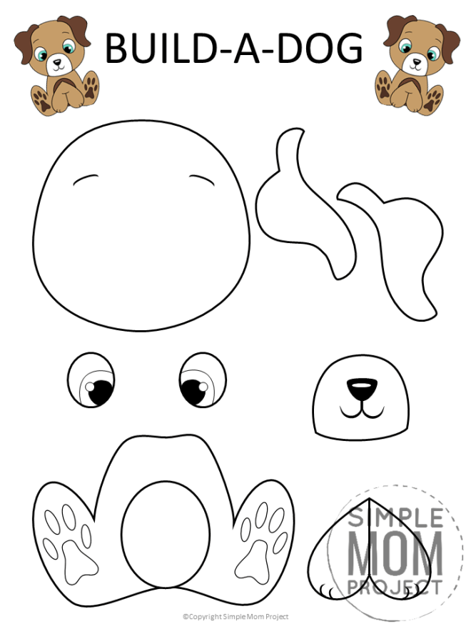 Free Printable Puppy Dog Craft for Kids, toddlers and preschoolers Black and White (1)
