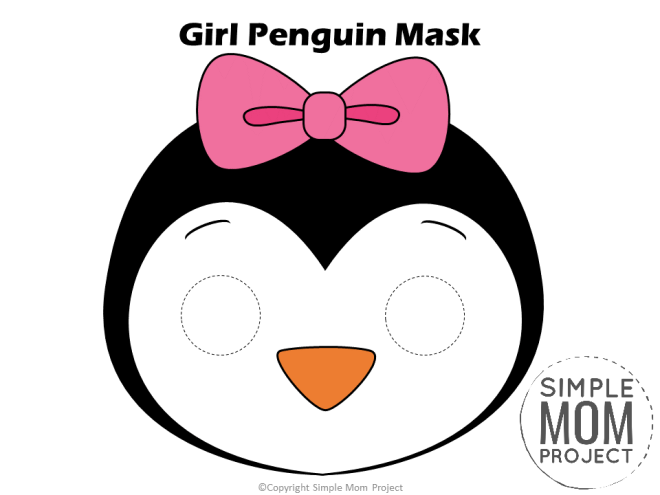 Free Printable Girl Penguin Mask for kids, preschoolers and toddlers